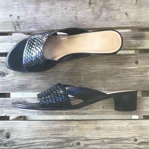 Naturalizer Black Leather Kitten Heel Slides 9.5